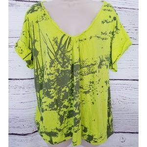 Torrid Neon Yellow Splatter Paint Tee Shirt